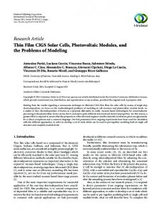 Thin Film CIGS Solar Cells, Photovoltaic Modules, and the Problems