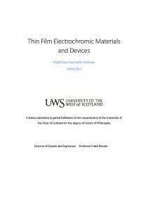 Thin Film Electrochromic Materials and Devices