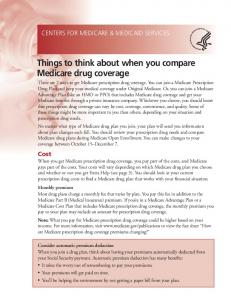 Things to think about when you compare Medicare drug coverage
