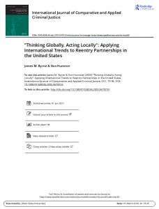 Thinking Globally, Acting Locally'': Applying