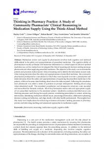 Thinking in Pharmacy Practice: A Study of Community ... - MDPI