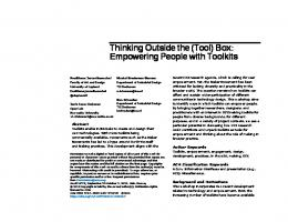 Thinking Outside the (Tool) Box: Empowering ... - ACM Digital Library