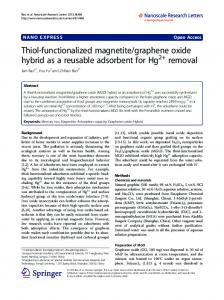 Thiol-functionalized magnetite/graphene oxide hybrid ... - BioMedSearch
