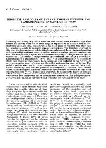 THIOPHENE ANALOGUES OF THE CARCINOGENS ... - Europe PMC