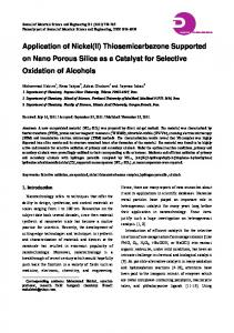 Thiosemicarbazone Supported on Nano Porous Silica as a Catalyst