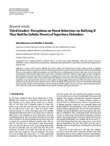 Third Graders' Perceptions on Moral Behaviour on Bullying If They ...
