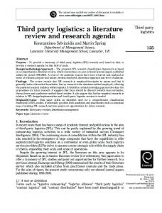 Third party logistics: a literature review and research agenda - CiteSeerX