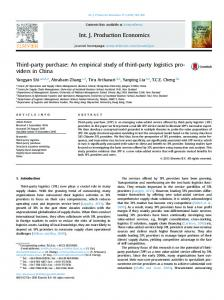 Third-party purchase: An empirical study of third-party logistics ...