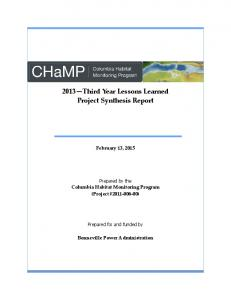 Third Year Lessons Learned Project Synthesis Report