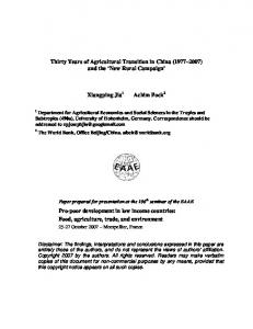 Thirty Years of Agricultural Transition in China - CiteSeerX