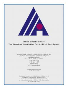 This Is a Publication of The American Association for Artificial ...
