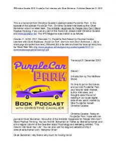 This is a transcript from Christine Cavalier's podcast ... - PurpleCar