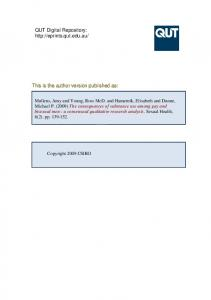 This is the author version published as - QUT ePrints