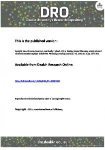 This is the published version: Available from Deakin ...