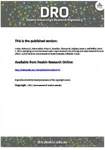 This is the published version: Available from Deakin ... - CiteSeerX