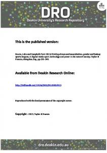 This is the published version - DRO - Deakin