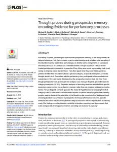 Thought probes during prospective memory encoding ... - PLOS