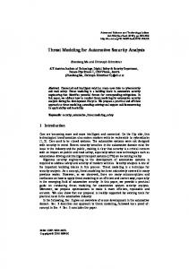 Threat Modeling for Automotive Security Analysis