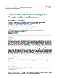 Threat Status of Commercially Exploited Trees in the Nigerian Rainforest