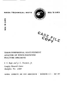 Three dimensional finite-element analysis of finite-thickness fracture ...