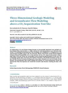 Three-Dimensional Geologic Modeling and Groundwater Flow ...