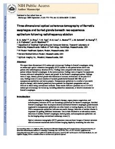 Three-dimensional optical coherence tomography of Barrett's ...