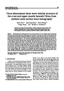 Three dimensional shear wave velocity structure of the crust and ...