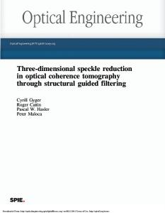 Three-dimensional speckle reduction in optical coherence ... - cpvrLab
