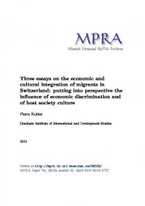 Three essays on the economic and cultural integration of migrants in ...