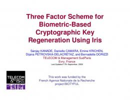 Three Factor Scheme for Biometric-Based Cryptographic Key ...