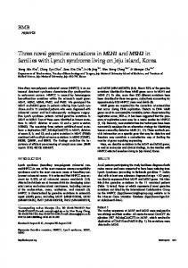 Three novel germline mutations in MLH1 and ... - Semantic Scholar