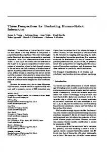 Three Perspectives for Evaluating Human-Robot Interaction