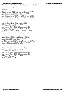 Three Times A Lady-Lionel Ritchie lyrics & chords - Traditional ...