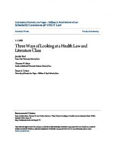 Three Ways of Looking at a Health Law and Literature