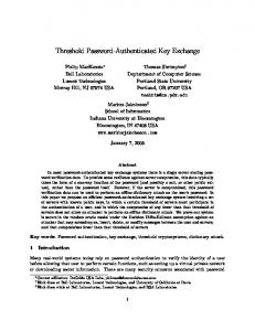 Threshold Password-Authenticated Key Exchange - UF CISE