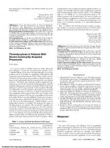 Thrombocytosis in Patients With Severe Community-Acquired ...