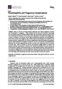 Thrombophilia and Pregnancy Complications - MDPI