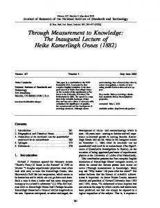 Through Measurement to Knowledge: The Inaugural ... - NIST Page