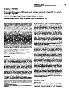 Thymoglobulin targets multiple plasma cell antigens and has in vitro ...