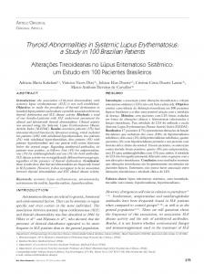 Thyroid Abnormalities in Systemic Lupus Erythematosus: a ... - SciELO
