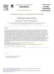 Tidal Stream Energy in China - Core