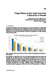 Tillage Effects on Soil Health and Crop Productivity: A ...