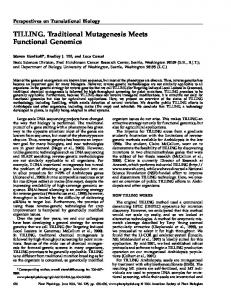 TILLING. Traditional Mutagenesis Meets Functional ... - Plant Physiology