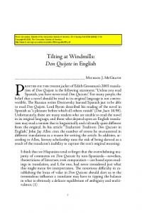 Tilting at Windmills: Don Quijote in English - H-Net