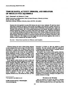 time budgets, activity periods, and behavior of mexican fox squirrels