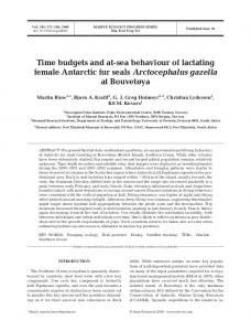 Time budgets and at-sea behaviour of lactating female Antarctic fur ...