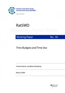 Time Budgets and Time Use - RatSWD