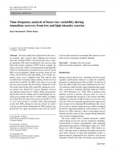 Time-frequency analysis of heart rate variability during ... - Springer Link