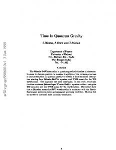 Time in Quantum Gravity