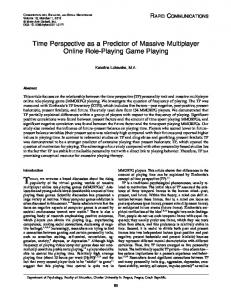 Time Perspective as a Predictor of Massive Multiplayer Online Role ...